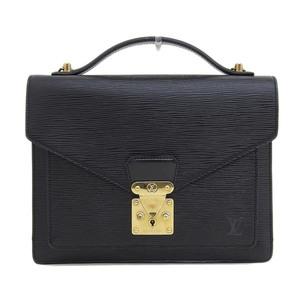 Genuine LOUIS VUITTON Louis Vuitton Epi Noir Monceau Bag Leather