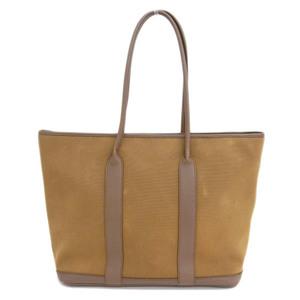Genuine HERMES Hermes Garden Zip Tote Bag Brown Silver hardware □ M engraved bag leather