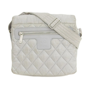 Genuine CHANEL Chanel Cocokokoon nylon shoulder bag gray 13 series leather