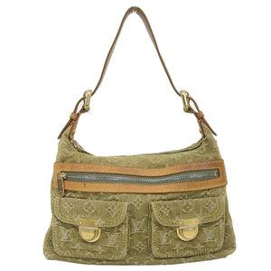 Genuine Louis Vuitton Monogram Denim Buggy PM One Shoulder Bag Riken Green Leather