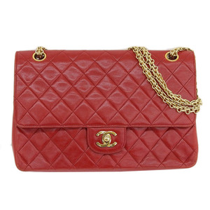 Genuine CHANEL Chanel Lambskin Matras Chain Shoulder Bag Red Leather