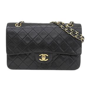 Genuine CHANEL Chanel Ram Matasse W flap chain shoulder black bag leather