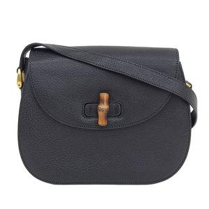 Genuine GUCCI Gucci Bamboo Line Leather Shoulder Bag Black