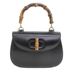 Genuine GUCCI Gucci Bamboo Line Leather Handbag Black Gold Hardware Bag
