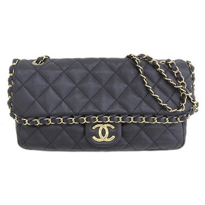 Genuine CHANEL Chanel Matrasse single flap W chain bag black G hardware 14 series leather