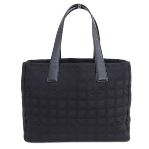 Genuine CHANEL Chanel New Travel Line MM Tote Bag Black 9 stand Leather