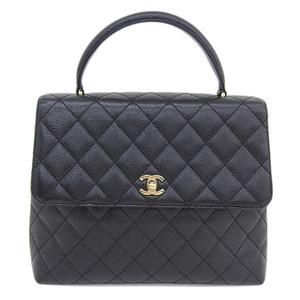 Genuine CHANEL Chanel Coco Mark Caviar Skin Matrasse Handbag Black Bag Leather