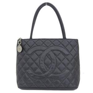 Genuine CHANEL Chanel caviar skin KOKOMARK Reprinted tote bag black silver hardware 6 stand leather