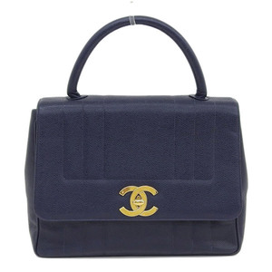 Genuine CHANEL Chanel caviar skin Mademoiselle handbag navy 3 stand bag leather