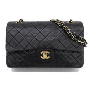 Genuine CHANEL Chanel W flap Matrasse lambskin shoulder bag black gold bracket leather