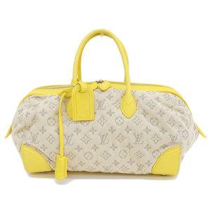 Genuine LOUIS VUITTON Louis Vuitton Monogram Denim Speedy Round Jeane M40709 Bag Leather