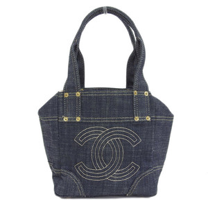 Genuine CHANEL Chanel Sparkling Denim Hand Bag Leather