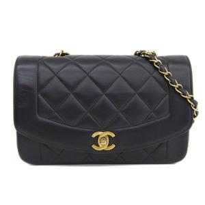 Genuine CHANEL Chanel Lambskin Single Chain Matrasse Shoulder Bag Black Leather