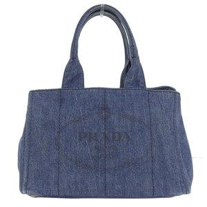Genuine PRADA Prada denim canvas Kanapa tote bag blue Model number: B1877B leather