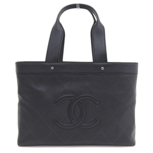 Genuine CHANEL Chanel leather punching tote black 11 stand bag