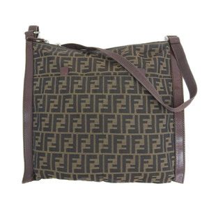 Genuine FENDI Fendi Zucca Pattern Nylon Canvas Leather Shoulder Bag Brown