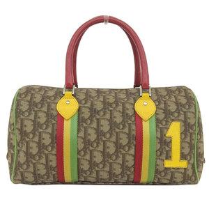 Genuine Christian Dior Rastaline Trotter Mini Boston Bag Handbag Brown Leather