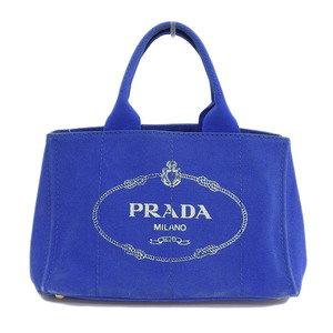 Genuine PRADA Prada Kanapa Canvas Tote Bag Blue Leather