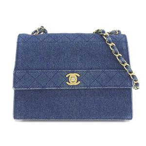 Genuine CHANEL Chanel Denim Chain Shoulder Bag Blue 1 stand Leather