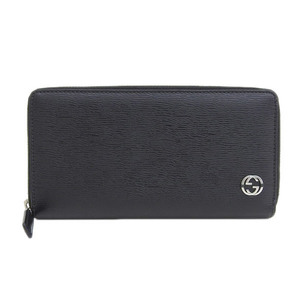 Genuine GUCCI Gucci round zipper long wallet leather black