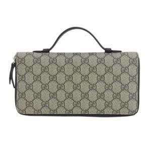 Genuine GUCCI Gucci Travel Case Round Fastener Long Wallet GG Supreme Model: 431714 Leather