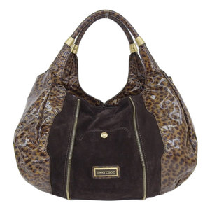 Genuine JIMMY CHOO Jimmy Choe Enamel Center Zip Shoulder Bag Leopard Tea Leather