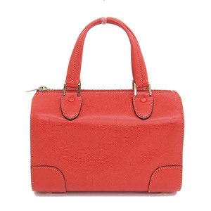 Genuine VALEXTRA Valextra Leather Mini Boston Bag Red Gold Hardware