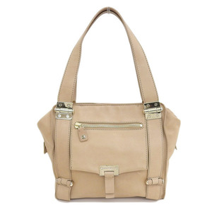 Genuine JIMMY CHOO Jimmy Choo calf leather shoulder bag beige gold hardware