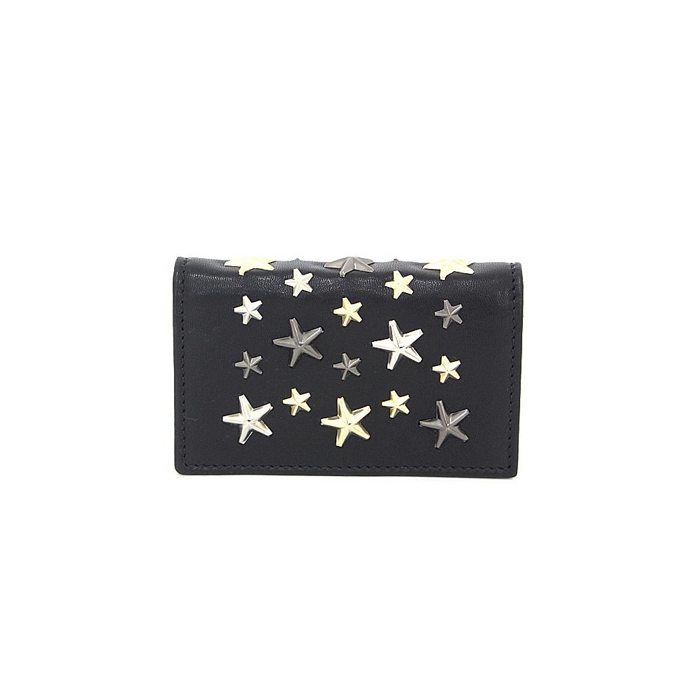 JIMMY CHOO Jimmy Choo Star Studs Card Case Nero NELLO LTR 000715 Black x Gold Silver