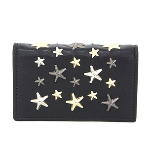 JIMMY CHOO Jimmy Choo Star Studs Card Case Nero NELLO LTR 000715 Black x Gold Silver