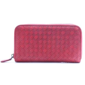 Bottega Veneta Intrecciato Zip Around Wallet Unisex  Calfskin Wallet Red