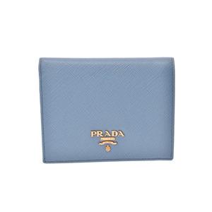 Prada Compact Wallet 1 MV 204 Blue Ladies Safiano Mini Purse Unused Beauty Product PRADA Box Gallery Used Ginzo