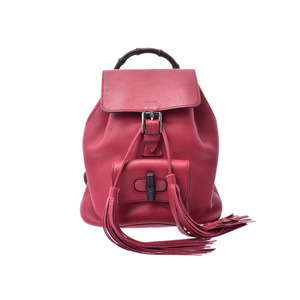 Gucci bamboo backpack pink women's calf rucksack A rank beauty goods GUCCI used Ginzo
