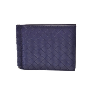 Bottega Veneta Card Case with Money Clip Intrecciato Blue Men's Ladies Lambskin AB Rank BOTTEGA VENETA Box Used Ginzo