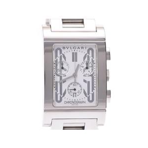 ブルガリ レッタンゴロ49 クロノグラフ 白文字盤 RTC49S メンズ SS 自動巻 腕時計 ABランク BVLGARI ギャラ 中古 銀蔵