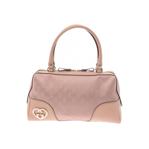 Gucci Lovely Line Mini Boston Bag Metallic Pink / Beige Ladies GG Canvas Leather Handbag AB Rank GUCCI Used Ginzo