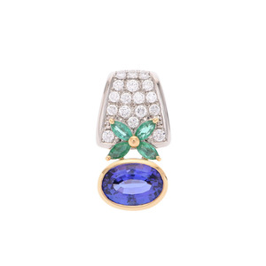 Tasaki Pendant top Women's Tanzanite 4.37ct Diamond 0.59ct Emerald PT900 K18 8.8g A rank Beauty goods used Ginzo
