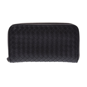 Bottega Veneta Round zipper long wallet Intorechart Black Men's Ladies Calf B rank BOTTEGA VENETA used Ginzo