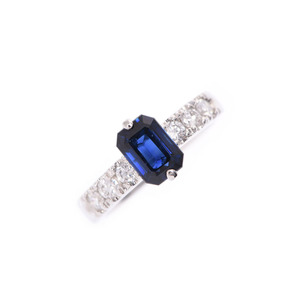 Ring Women's PT900 Sapphire 1.19ct Diamond 0.34ct 5.5g # 7.5 A rank Beauty goods Used Ginzo