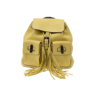 Gucci Bamboo Backpack Yellow Ladies calf rucksack AB rank GUCCI used Ginzo