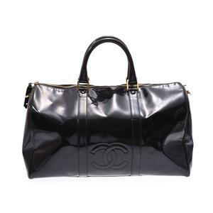 74ecb7297220a8 Chanel Boston Bag Large Black G Bracket Women's Enamel B Rank CHANEL With  Strap Galla Used