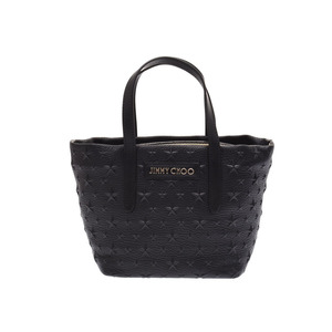 Jimmy Choo tote bag Star embossed black Women's leather 2WAY A rank beauty item JIMMY CHOO with strap Used Ginzo