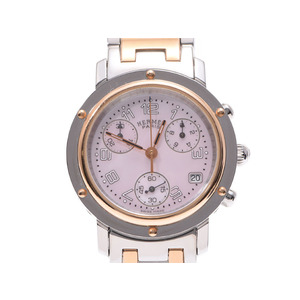 HERMES Clipper Chronograph Pink MOP Dial Gold Plated Steel Quartz Ladies Watch CL1.321
