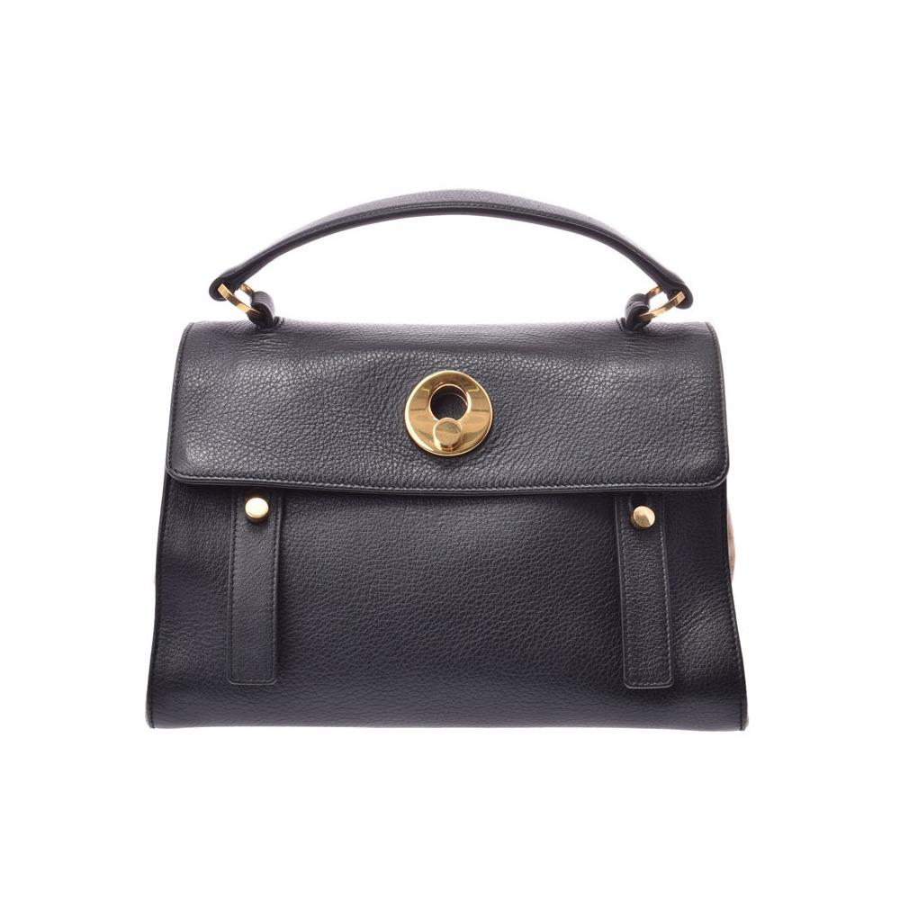 c3a324ae98f Saint Laurent Musetu black / beige Women's leather suede 2WAY handbag B  rank YVES SAINT LAURENT