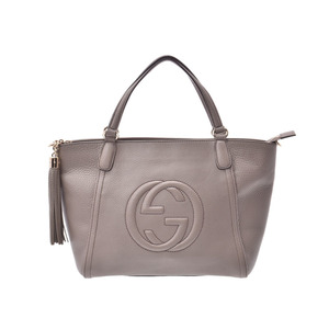Gucci Soho 2WAY bag gray Ladies calf A rank good product GUCCI with strap Used Ginzo