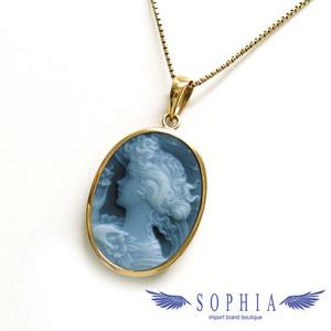 Women's motif black stone cameo necklace 20190222