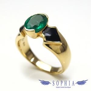 Emerald design ring K18YG size 15 No. 20190316