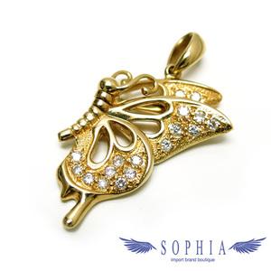 Butterfly motif pendant top diamond x K 18 YG 20190227