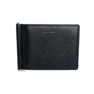 Saint Laurent SAINT LAURENTT Bill Clip Card Case 378005 Black Leather Bi-Fold Wallet Men's