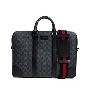 Gucci GUCCI GG Supreme Briefcase 474134 Canvas Black x Gray